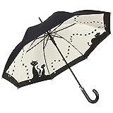 VON LILIENFELD Regenschirm Automatik mit Katzenmotiv: Schwarze Katzen