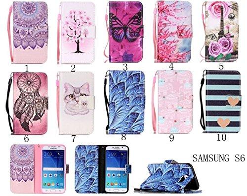 für Smartphone Samsung Galaxy S6 Hülle, Klappetui Flip Cover Tasche Leder [Kartenfächer] Schutzhülle Lederbrieftasche Executive Design +Staubstecker (7OO) 2