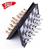Hoshin Schach Tragbares Classic Faltbares Reise Magnetisches schachspiele mit Aluminiumbeschichtung, 25 x 25 x 2 cm