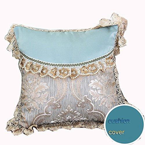 Dossier De Chevet Europe - Housse de coussin de style Pure Color Belle cale creuse Lace palais (couleur bleue) (taille : 60 * 80)