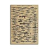 PANGUN Armes À Feu, Collection Affiche Kraft Papier Mural Poster DIY Wall Art 21 inches x 14 inches...