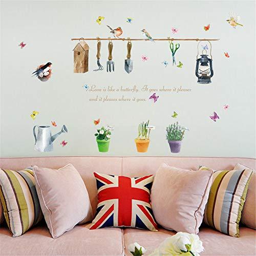pendent flower pots adesivi murali fai da te home window wall decor party fiore artificiale bascket autoadesive piante decalcomanie in vinile