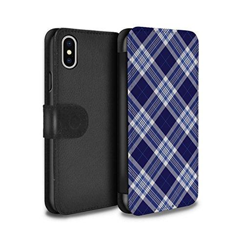 Stuff4 Coque/Etui/Housse Cuir PU Case/Cover pour Apple iPhone X/10 / Brun Design / Tartan Pique-Nique Motif Collection Bleu Foncé