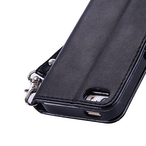 Leather Case Cover Custodia per iPhone 5 / 5G / SE ,Cozy Hut Caso / copertura / telefono / involucro del modello PU con a Bookstyle tasche carte di credito funzione con interno morbido in TPU Portafog nero