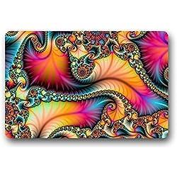 Felpudo Nº 01Custom-Tema Hippie Mandala Pattern Felpudo para secado Wet Feet, grabing polvo y suciedad