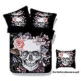 Parure de lit impression tête de mort 3D, Polyester, Noir , Double-200X200cm-3 pcs