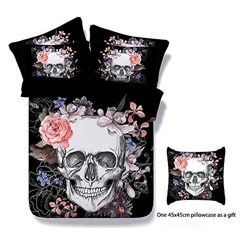 Onlyway Juego de cama de con diseño de calavera con flores,...