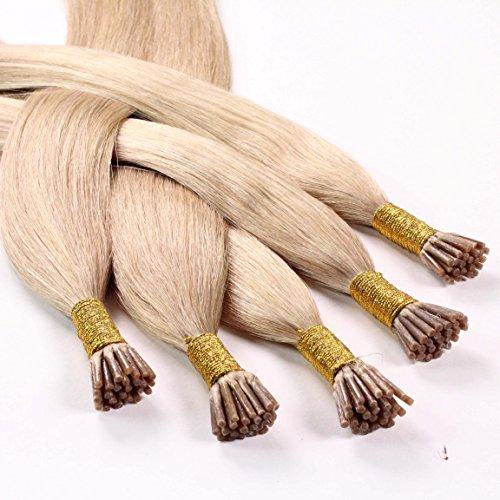 Hair2heart 150 x 0.5g microring stick i-tip extension capelli veri - 50cm - liscio, colore #18 biondo chiaro dorato