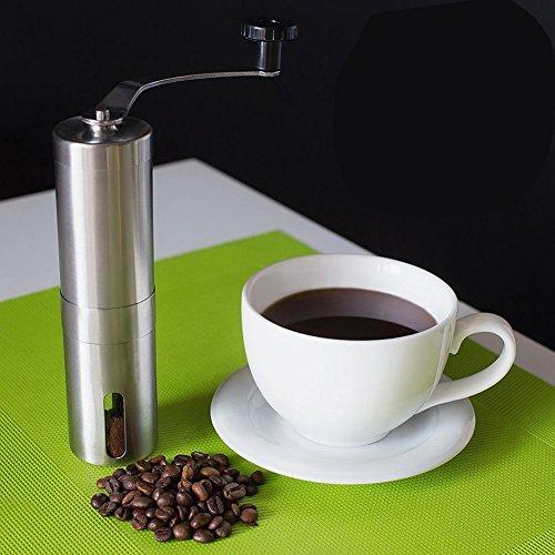 Hand-Kaffeemühle mit Keramik-Mahlwerk | Manuelle Kaffeemühle | Espresso-Mühle | Edelstahl |...
