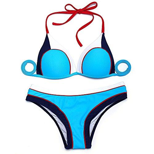 Erica Frauen Beach Halter Bikinis Zwei Stücke Set Badeanzug Kontrast Patchwork Wireless Padless BH Bademode Yellow