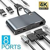 XDDIAS Hub USB C 8 in 1, Tipo c Adattatore in Alluminio con Uscita HDMI 4K, Gigabit Ethernet, 1080P VGA, 3.5mm Audio Output, 3 USB 3.0, PD Carica per MacBook PRO 2018, Samsung S10, Huawei