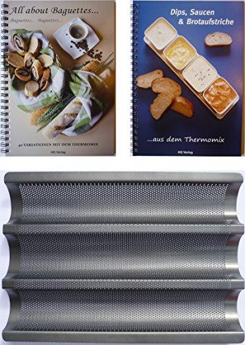 HG Verlag XL-Set Baguetteblech + 2 Bücher: All About Baguettes+Dips, Saucen & Brotaufstriche aus- mit dem Thermomix TM21 TM31 TM5 …