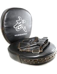 Juego de 2größenverstellbar Manoplas de punching Pads, con velcro,, Thaipads mano universal Thaipads tamaño,–Manoplas de boxeo color negro–Marca Ganzoo