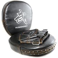 Ganzoo Juego de 2größenverstellbar Manoplas de Punching Pads, con Velcro, Thaipads Mano Universal Thaipads tamaño,–Manoplas de Boxeo Color Negro–Marca