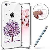 Robinsoni Coque iPhone 5C Étui en Silicone,Coque Transparente motif Fleur de Cerisier Cherry blossoms Rose Coque,Souple Tpu Ultra-Mince Cristal Clair Coque Housse Etui iPhone 5C,#8