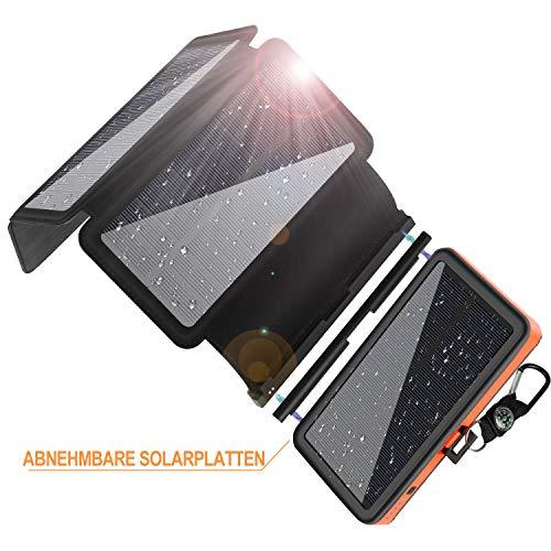 Solar Powerbank 25000mAh, F.Dorla Solar Ladegerät mit 4 abnehmbaren Solar Panels, 2 Eingänge 2 Ausgänge, LED-Taschenlampe mit 3 Betriebsstufen, wasserdichte Powerbank Solar für Outdoor Aktivitäten