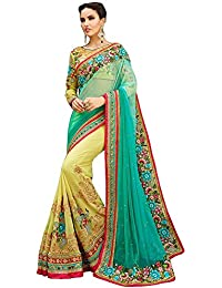 SareeShop Women's Georgette Embroidered Saree With Blouse Piece(SofiyaGreen-SAREE01_Green_COLOUR)