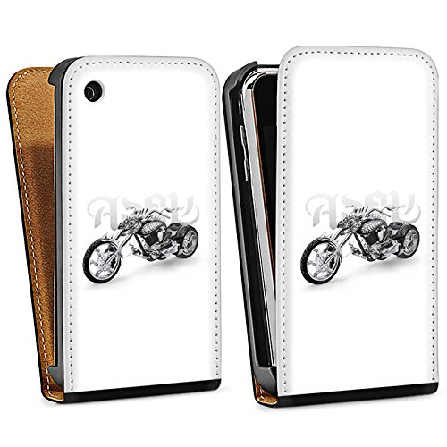 Apple iPhone 5s Housse étui coque protection Moto Sac Downflip noir