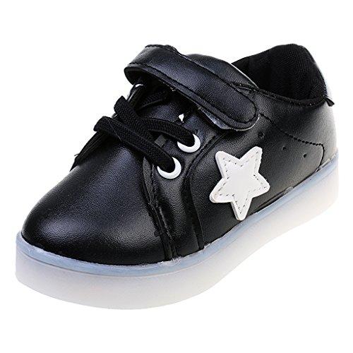 Chaussure LED Sneakers Basket Bébé Enfant Souple Respirants Noir