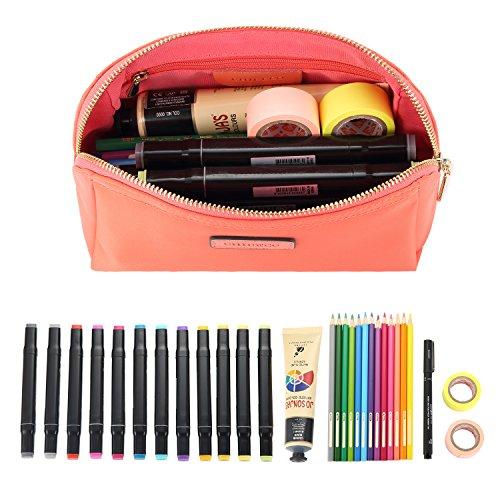 CHICECO Nylon Klein Kosmetiktasche Damen Schminktasche für Handtasche Makeup Tasche - Schwarz Wassermelonenrot-Klein