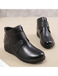 KHSKX-Nei Pazienti Anziani Con Caldo Cotone Velvet Scarpe Stivali Scarpe Slip Leggero Fondo Piatto Stivali Di Cuoio41 Nero