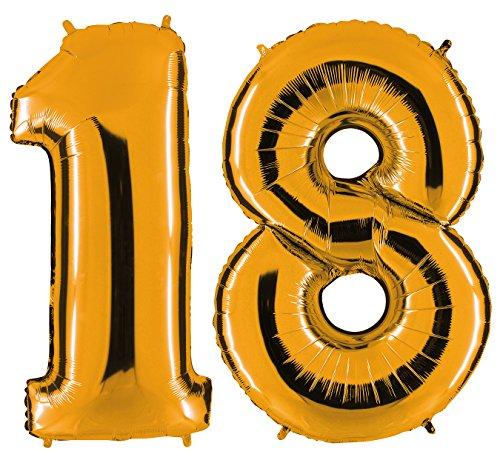 PartyMarty Ballon Zahl 18 in Gold - XXL Riesenzahl 100cm - zum 18. Geburtstag - Party Geschenk Dekoration Folienballon Luftballon Happy Birthday