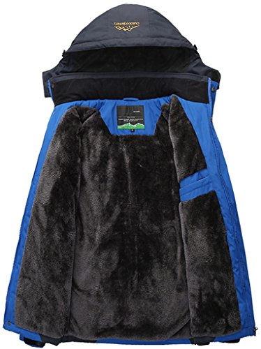 Sawadikaa Giacca da Uomo Impermeabile Cappuccio Softshell Cappotto Giacca a Vento Invernale Manica lunga Giacca Montagna Blu