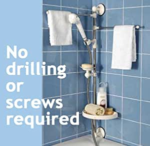 Shower Caddy Organiser Set No Drilling Or Screws Required Includes Towel Rack Showerhead