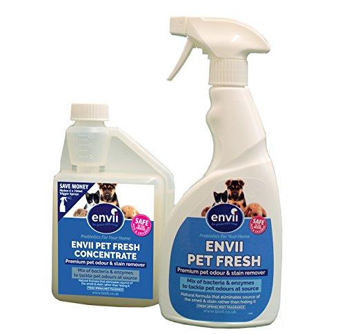 Envii Pet Fresh – Elimina Manchas y Olores, Quita Manchas & Neutralizador con Enzimas, para Cualquier Accidente de su Mascota - 1x 500ml de concentrado y 1x pulverizador de 750ml