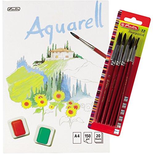 Herlitz 495457 Aquarellpapier, Aquarellkarton, A4, 150 g/qm, 20 Blatt / Kombi-Set (3 Blöcke + 12...