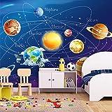 Cartoon Planet Sonnensystem Fototapete Kinderzimmer Schlafzimmer Wandbild Wohnzimmer Tapete