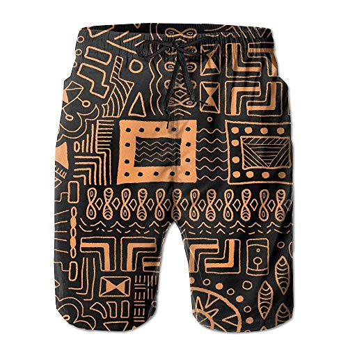 khgkhgfkgfk African Tribal Art Mens Novelty Quick Dry Swim Trunk Drawstring Beach Board Shorts Swimwear Large -