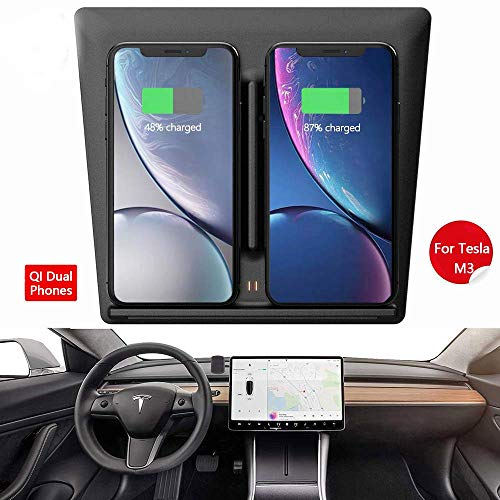 Godpick Model 3 Wireless Charger, Dual QI Wireless Phone Charging Dock  Center Console for Tesla Model 3 Accessories-No Software Issue Upgraded