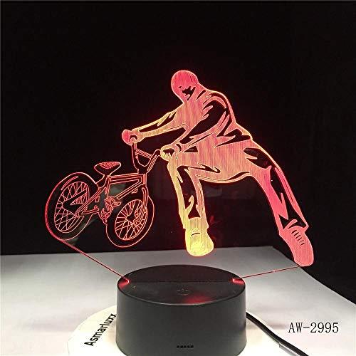 3D Lámpara Acrobacias En Bicicleta Lampara De Ilusion Óptica Colores Decoracion Led Visual Luz De Noche Para Niños Cumpleaños Regalos-Interruptor Tactil