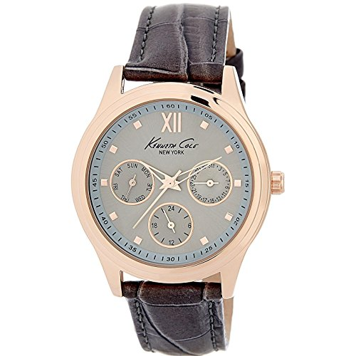 KENNETH COLE WOMEN'S 36MM BROWN LEATHER BAND STEEL CASE QUARTZ WATCH 10029560