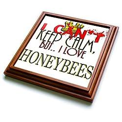 3dRose trv_242056_1 I Cant Keep Calm Honeybees Trivet with Ceramic Tile, 8 x 8, Natural