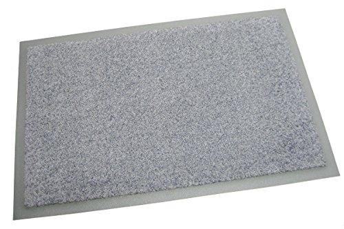 Schmutzfangmatte / Türmatte / Fußmatte Color, 85 x 150 cm, Grau, mit farbigen Trittrand / grauer...