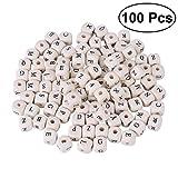 OUNONA 100pcs Holz Buchstabenperlen für DIY Armband oder Halskette Schmuckherstellung