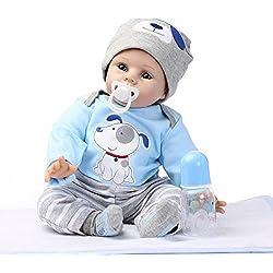 Per Poupon Bébé Reborn Silicone Poupée Réaliste avec Cheveaux Vrai Bébé Fille Garçon Reborn Baby 22in (D)
