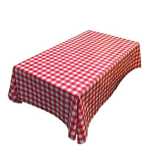Fanjow® Tischdecke aus PVC, einfach abwischbare Decke in ländlichem Stil aus Kunststoff, öldicht, wasserdicht und flüssigkeitsgeschützt für drinnen und draußen., rot kariert, 137cm*180cm/53.94