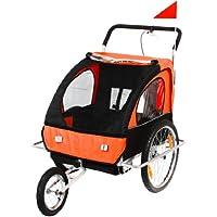 SAMAX 56640015, SAMAX Children Bike Trailer 2in1 Kids Jogger in Orange/Black - Silver Frame (Sports & Outdoors)