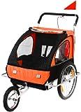 SAMAX Remorque Vélo convertible Jogger 2en1 en Orange/Noir - Silver Frame