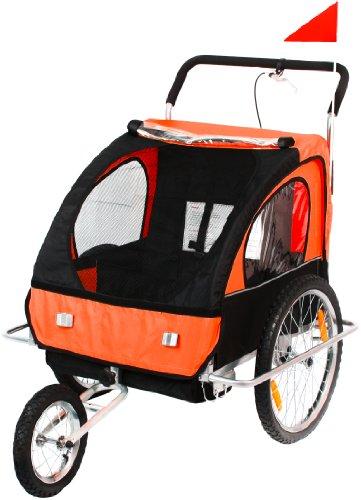SAMAX Fahrradanhänger Jogger 2in1 Anhänger in -  Silver Frame, Orange (orange black)