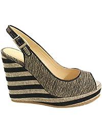 Jimmy Choo Mujer PROVAWOI Beige/Negro Cuero Zapatos De Cuña