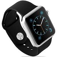 Armband für Apple Watch 42 mm   JAMMYLIZARD Dreiteiliges Sport Armband aus Silikon in Schwarz mit integriertem Armband Connector