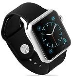 Armband für Apple Watch 42 mm | JAMMYLIZARD Dreiteiliges Sport Armband aus Silikon in Schwarz mit integriertem Armband Connector