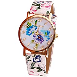 WINWINTOM Flower Pattern Leather Band Vogue Wrist Watch Blue