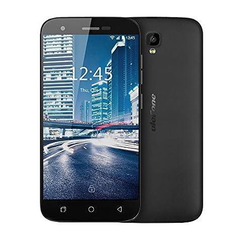 Ulefone U007PRO Smartphone téléphone portable Débloqué 4G sans forfait pas cher petit prix moins 100 euros 5.0 pouce HD écran,Android 6.0,MT6735 Quad core 1.0GHz, max13MP+5MP,Dual sim,GSM,WCDMA,FDD-LTE,wifi,GPS/Glonass,Batterie 2200mAh (Noir)