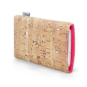 Stilbag maßgeschneiderte Korkhülle VIGO   Farbe: natur-silber-lachs   Smartphone-Tasche aus Kork   Handy Schutzhülle   Handytasche Made in Germany