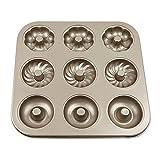 Savorliving Donut Moule 9cavités Donut anti-adhésif en acier carbone Moules Mini moule à cake Moule Doré Multipurpose Bakeware, fait 9Taille complète Donuts, 26*26cm 26*26cm 3 Shapes